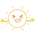 color line happy and cute sun kawaii with arms vector image vector image