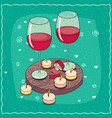 composition with red wine and engagement ring vector image