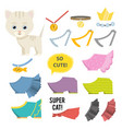 cute cartoon catclothesbijou vector image vector image