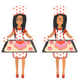 cute woman holding baking tray vector image vector image