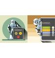 Digital silver happy robot presenting vector image