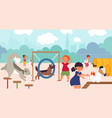 dog playground pets walk dogs owners on city vector image vector image