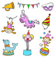 doodle circus various object vector image vector image