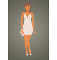 fashion glamor girl in dress vector image vector image