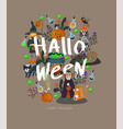 halloween banner or card with scary elements vector image