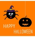 Hanging spider in witch hat and pumpkin Happy vector image vector image