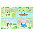 happy family camping together people hiking in vector image vector image