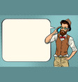 hipster man with a smartphone vector image