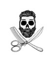 hipster skull with hair style beard and mustache vector image