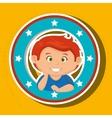 Icon cartoon child boy happy vector image