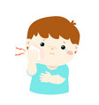 little boy having toothache cartoon vector image vector image