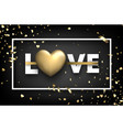 love card with gold hearts and serpentine vector image vector image
