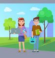 male and female students with handbags set vector image vector image