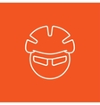 Man in bicycle helmet and glasses line icon vector image
