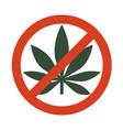 marijuana leaf with forbidden sign - no drug no vector image