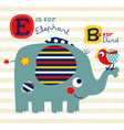 nice elephant and bird cartoon vector image vector image
