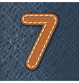 Number 7 made from leather on jeans background vector image vector image
