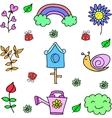 Object of spring set doodles vector image