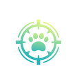 pet search logo paw print and crosshair vector image vector image