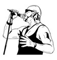 rock man with a microphone vector image