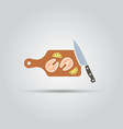 salmon steak on a cutting board isolated icon vector image vector image