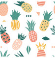 seamless pattern with cute doodle pineapples vector image