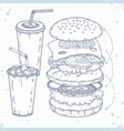 set icons fast food hamburger and drinks vector image vector image