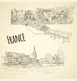 set of city sketching on vintage background vector image vector image