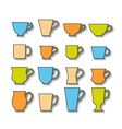Set of mugs color silhouettes of dishes symbols vector image
