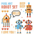 set of pixel robots words hearts vector image vector image