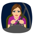 sleepy female driver dozing off while driving vector image