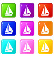 small yacht icons 9 set vector image vector image
