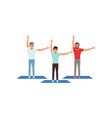smiling men warming-up and stretching before vector image vector image
