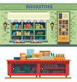 Storefront and a shelf with books vector image