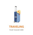 suitcase logo travel icon symbol bag design vector image vector image
