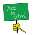 table with back to school message vector image vector image
