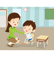 Teacher Comforting Her Crying student vector image vector image