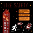 Template for fire safety instructions vector image vector image