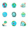 terrestrial globe icons set cartoon style vector image vector image