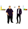 thin and fat proper nutrition vector image