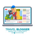 travel weblog concept personal blog about vector image vector image