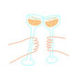 two glasses with alcohol in their hands ringing vector image