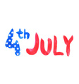 Watercolor text 4th july vector image vector image