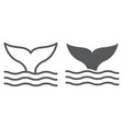 whale tail line and glyph icon animal vector image vector image