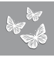white paper butterflies on gray background vector image