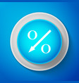 white percent down arrow icon on blue background vector image