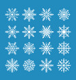 white snowflakes isolated on blue background vector image vector image