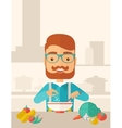 Young caucasian is eating salad for lunch in the vector image