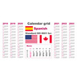 american calendar standard us spanish hispanic vector image vector image