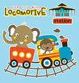 animals cartoon vacation with train vector image vector image
